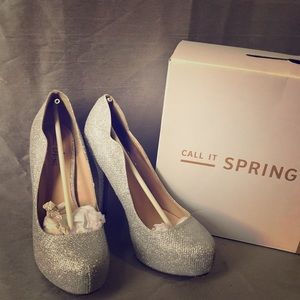 Call It Spring Sparkly Silver Pumps
